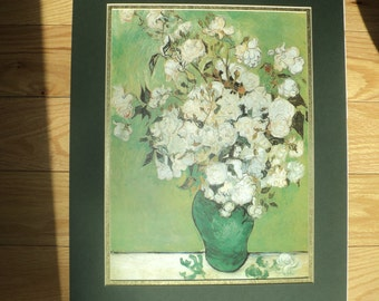 "Vintage Van Gogh Floral Still Life Lithographic Print of ""Pink Roses in A Vase"" (1890),  Framed and Matted in Mint Condition"