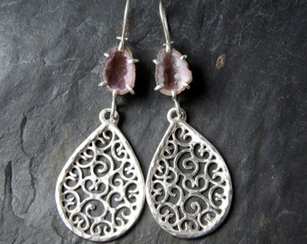 SALE<<<Prong Set Geodes and Filigree Drop Earrings in Sterling Silver