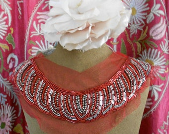 Gunmetal Gray and Red Beaded Appliques