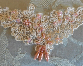 Peach Sequined Beaded Floral Appliques