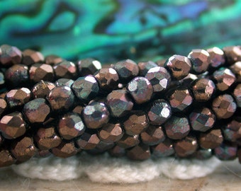 2 Strands ~ 100 Pieces 2mm Fire Polished Beads, Czech Glass Fire Polished Beads, Faceted Glass Beads, Jet Matte Bronze Vega Beads  CZ-508