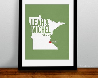 Minnesota Wedding Gift - Personalized State and Heart - Custom Wedding Date - Location City and State Modern Art Print - 8x10 Minneapolis