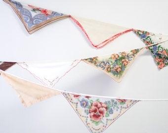 Nursery Garland - Vintage Hankie Bunting - Wedding Altar Decoration - Vintage Handkerchief Garland - Orange and Brown Colors - Ready to Ship