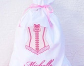 2 Embroidered Personalized Lingerie Travel Laundry Bag , Wedding Shower Gifts, Bridesmaid Party Gifts - Bridemaid Bag