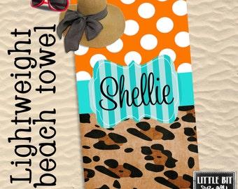 Personalized Beach Towel Animal Print Polka Dots Monogrammed Pool Towel Poly/Cotton Orange Turquoise