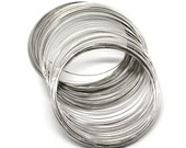 Silver Memory Beading Wire - Antique - For Bracelets or Earrings - 70mm-75mm Dia Aprox - 200 Loops - Ships IMMEDIATELY from California - T58