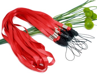 3 Red Lanyards - ID Card or Cell Phone Holders  - 36 Inches Long - Ships IMMEDIATELY from California - CH466