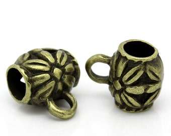 50 Bail Beads - WHOLESALE - Antique Bronze - 11X9mm - Barrel - Carved Flower Pattern - Ships IMMEDIATELY from California - B1189a