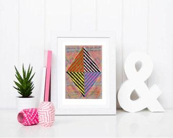 11x7.5 Geometric Abstract Painting, Pink, Yellow & Black Geometric NY1218