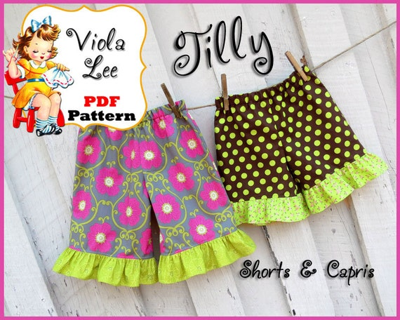 Tilly, Girl's Ruffle Shorts Pattern, Toddler Shorts Pattern. PDF Ruffle Shorts Sewing Pattern. Toddler Sewing pattern. Infant Shorts Pattern