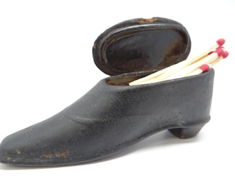 Antique Match Holder with Striker, Victorian Shoe  from the 1800's