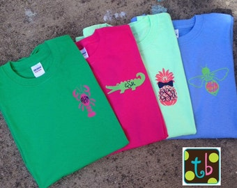Spring Monogram Tee Design Personalized Pineapple Bowtie Critter Alligator Lobster Shirt Monograms