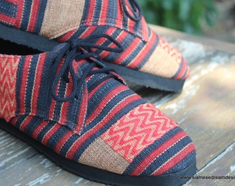 Womens Oxford Shoes In Tribal Ethnic Naga Hand Woven Cotton Vegan - Maddie