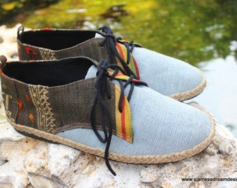 Vegan Oxford Men's Shoes In Natural Hemp & Laos Tribal Embroidery - Alex
