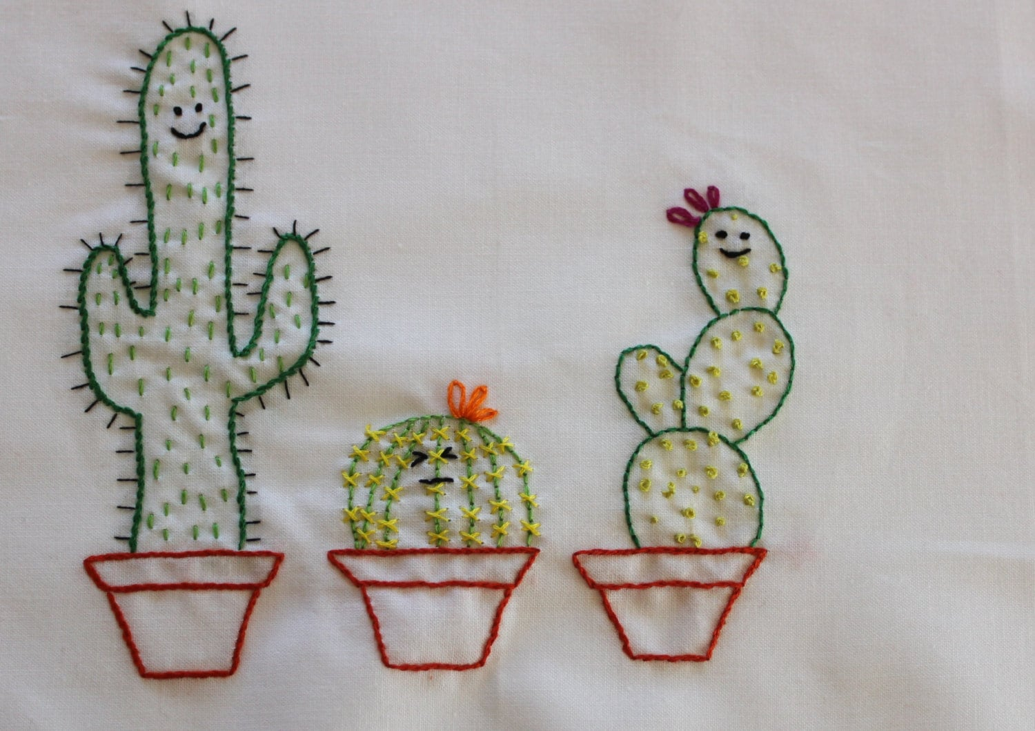 Cute cactus kawaii cacti embroidery pattern from