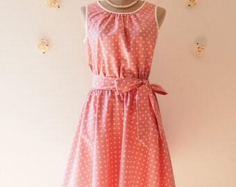 Pink Dress Polka Dot Swing Dress Vintage 50's Inspired Tea Dress Pink Bridesmaid Party Dress Dancing Dress Plus Size Dress -XS-XL,Custom