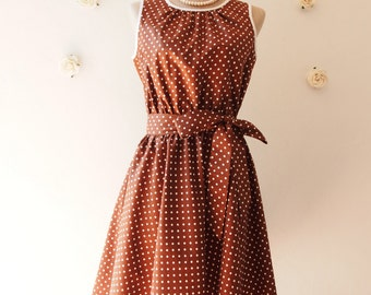 Brown Dress Polka Dot Swing Dress Vintage 50's Inspired Tea Dress Brown Bridesmaid Dress Brown Party Dress Plus Size Dress -XS-XL,Custom