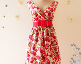 NOW SALE -- My Romantic Floral Dress Vintage Inspired Dress Red Floral Tea Dress Floral Bridesmaid Dress Red Rose Dress Red Tea Dress - S-M