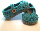 Baby girl mary jane slipper booties shoes crib shoes.  Teal and brown.  Made to order ballet slipper maryjanes.