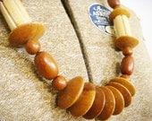 SALE - 50% off -Vintage Carved Wood Necklace Boho Geometric Mid Length A196