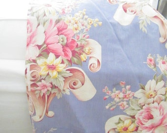 Vintage puritan print fabric with roses fabric  shabby chic prairie romantic cottage