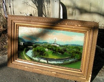 Hartford CT 1800s Reverse Painting HARTFORD CONNECTICUT Capital Soldier Sailor Arch Bushnell Park