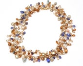 Long Gold Statement Necklace with Swarovski Pearls, Freshwater Pearls and Swarovski Crystals