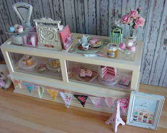 Dollhouse Miniature Vintage Shabby Chic Farmhouse Country Bakery Counter Display