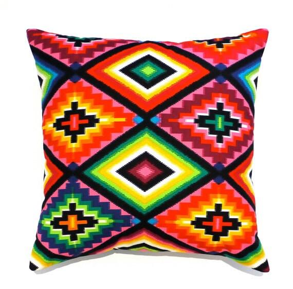 Mexican cushion mexican pillow Aztec cushion aztec pillow multicolor pillow geometric cushion geometric pillow cushion cover ethnic tribal