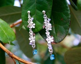 Pastel Blooms Silver Tone Drop Earrings