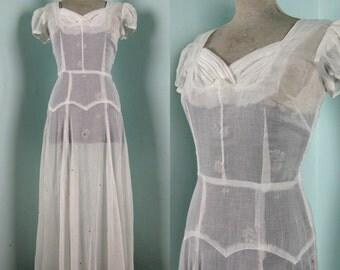 Vintage 1940s White Cotton Organdy Wedding Dress 40s Sheer Formal Gown with Rhinestone Skirt Size 8 M 29 Waist