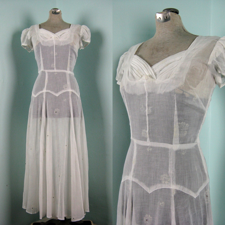 Vintage 1940s White Cotton Organdy Wedding Dress 40s Sheer