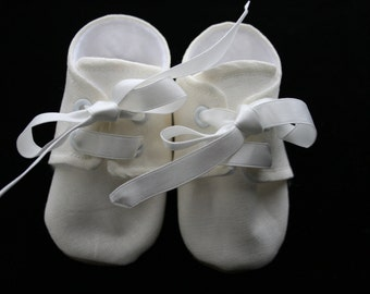 LINEN Ivory Cream Linen Baby Boy Shoes, Cotton, Sizes Newborn to 18 months, Christening, Baptism, Dedication, Easter, Special Occasion