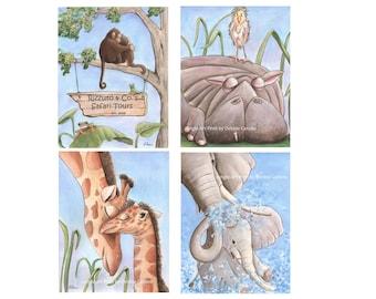 Baby Animal Prints, Nursery Wall Art, Gender Neutral Baby Shower Gift, Set Of 4 Personalized Fine Art, Blue Gray, Monkey, Giraffe, Elephant