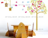 Birdcage Bird House Tree Butterflies - PEEL and STICK Removable Vinyl Wall Decal, Wall Sticker, Wall Decor (FREE shipping)