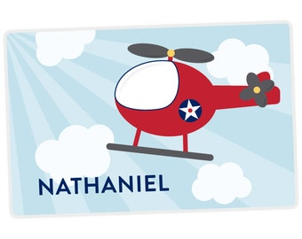 Helicopter Placemat - Helicopter Personalized Placemat for Boy - Name Placemat - Custom Placemat - laminated, double-sided