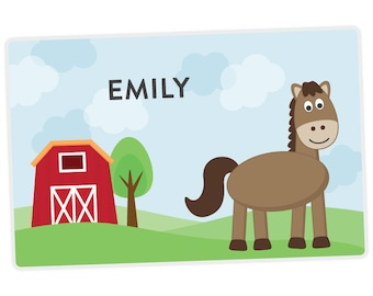 Horse Placemat - Kids Personalized Placemat - Childrens Placemat - Set The Table - Activity Placemat - Laminated Place Mat