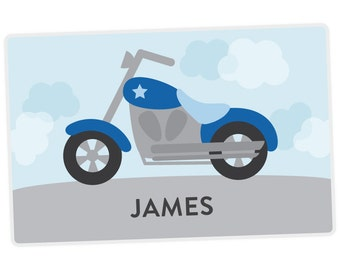 Motorcycle Placemat - Personalized Placemat for Boy - Personalized Motorcycle Placemat - laminated, double-sided