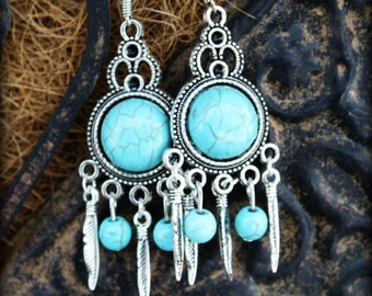 G.R.A.C.E.   - Turquoise & Silver Feather Dreamcatcher Earrings