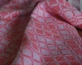 Handwoven Tea Towel- Classic Swedish Blocks Coral Cotton