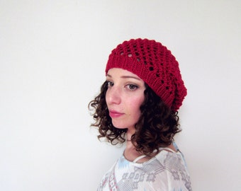Spring Hat Summer Beanie Light Weight Cap Womens Accessories Lace Knit Slouchy Hat Ladies Beret Red Knitted Gift Ideas Handmade Crochet