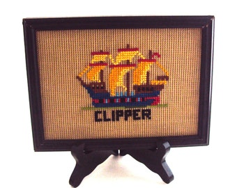 Framed Sailing Clipper Ship in Colorful Cross-stitch