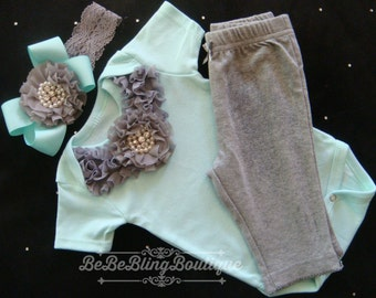 Newborn Baby Girl Take ME Home Outfit - Grey and Mint - Onesie, Pants, Headband - Rhinestone and Pearl Accents - One of a kind shower gift