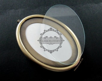 1set 65x95mm setting metal oval blank base bezel vintage style bronze compact pocket mirror tray glass cabochon 1991027