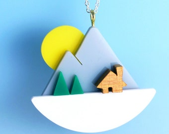 Cute Mountain Sunset Pendant Necklace - handcut from perpsex