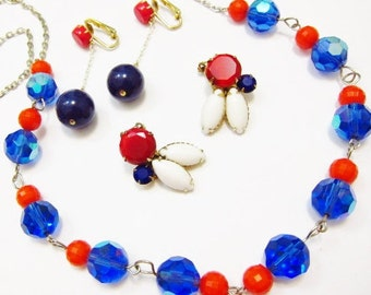 Vintage Patriotic Jewelry Lot Art Glass Crystal Plastic Earrings Necklace RED White BLUE