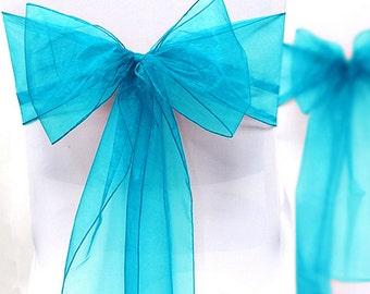 Chair Sashes Aqua Blue  100  Wedding Chair Sashes Chair Bows Aqua  Organza Pew Bows Party Bows Event
