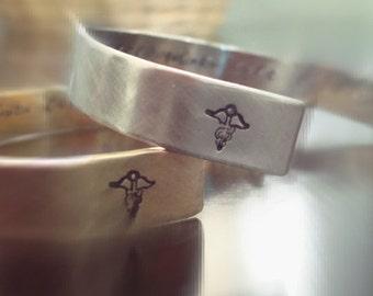 Personalized Cuff Bracelet - Mens -  Brushed Steel - Brushed Metal - Masculine - Nugold - Handstamped - Secret Message - Medical ID
