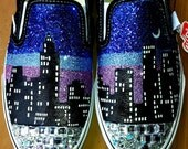 I LOVE NEW YORK city skyline purple blue nyc glow in the dark moon glitter Vans slip on crystal black shoes any size
