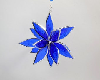 3D Stained Glass Cobalt Blue Suncatcher. Christmas gift. Flower. Flower of Life - Swirl.